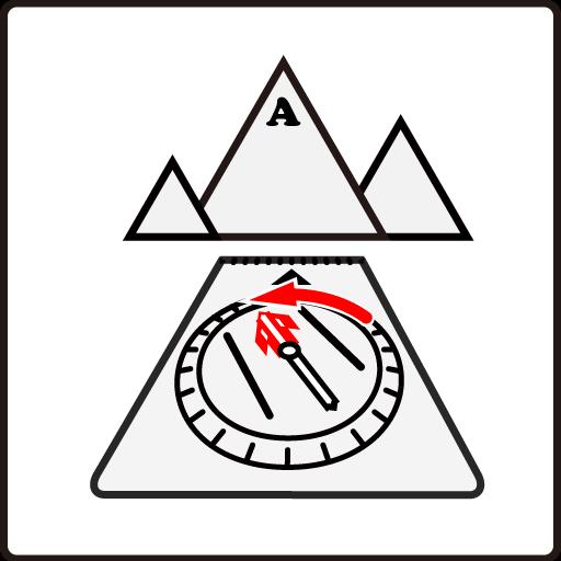 登山地図とコンパスの使い方 - 導矢と磁針のN極を合わせる
