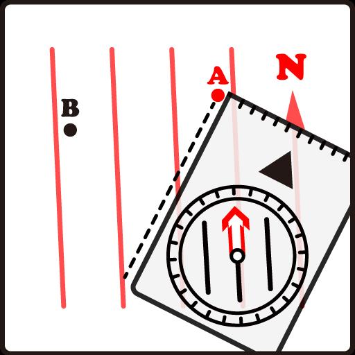登山地図とコンパスの使い方 - 地図上で導線と磁北線を平行にする