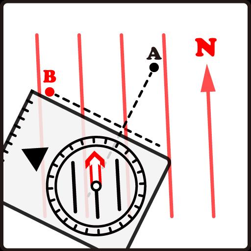 登山地図とコンパスの使い方 - クロスベアリング(2点交差法)